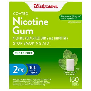 Walgreens Coated Nicotine Gum 2mg, Mint, 160 ea