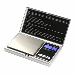 American Weigh SS Pocket Scale Back-Lit LCD Screen, Flip-Up Protective Cover AWS-100, Silver