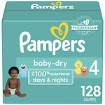 Pampers Baby Dry Diapers Size 4 Giant Pack- 128 ea