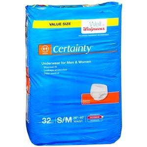 Walgreens Certainty Underwear Maximum Absorbency, Unisex, Medium, 32 ea