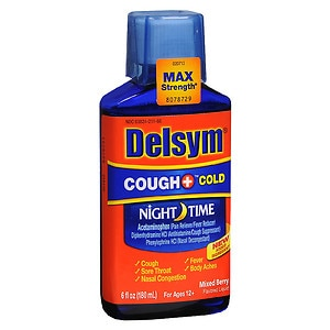 Delsym Adult Liquid Cough + Cold Nighttime, , Mixed Berry- 6 fl oz
