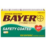 Bayer Aspirin Regimen, Safety Coated Enteric Caplets- 100 ea