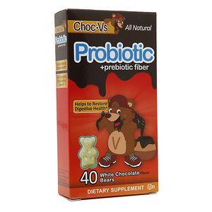 Yum-V's Choc-V's Probiotic + Prebiotic Fiber Bears, White Chocolate- 40 ea