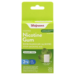 Walgreens Coated Nicotine Gum, 2mg, Mint, 20 ea