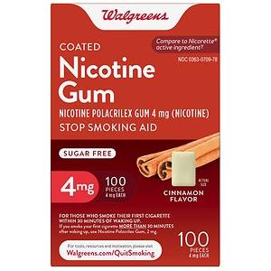 Walgreens Nicotine Replacement Gum 4Mg, Cinnamon- 100 ea