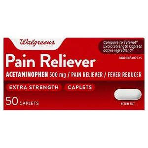 Walgreens Pain Reliever Extra Strength Caplets- 50 ea