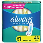 Always Ultra Thin Pads Regular with Flexi-Wings- 46 ea