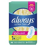 Always Ultra Thin Pads with Wings, Unscented, Regular- 46 ea