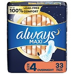 Always Maxi Pads Overnight with Flexi-Wings- 33 ea