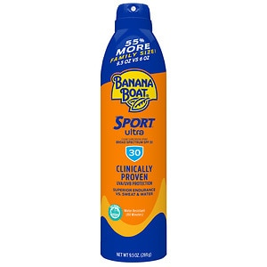 Banana Boat Sport Performance UltraMist Continuous Spray Sunscreen, SPF 30, Family Size- 9.5 oz