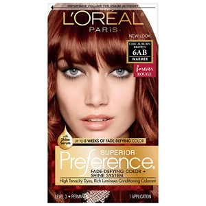 L'Oreal Paris Preference Fade Defying Color & Shine System, Permanent, 6AB Chic Auburn Brown- 1 ea