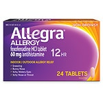 Allegra 12 Hour Allergy, Non-Drowsy 60mg Tablets- 24 ea