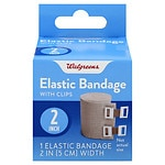 Walgreens Elastic Bandage With Clips, 2 inch