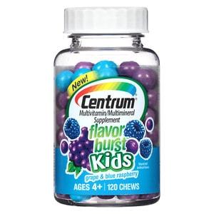 Centrum Kids Flavor Burst Multivitamin Chews, Grape & Blue Raspberry- 120 ea
