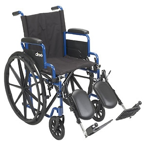 Drive Medical Wheelchair with Flip Back Desk Arms and Elevating Leg Rests, Blue Streak, 20 Inch Seat