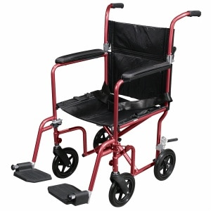 Drive Medical Flyweight Lightweight Transport Wheelchair with Removable Wheels, Red, 19 Inch Seat
