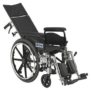 Drive Medical Viper Plus GT Reclining Wheelchair with Full Arms, Black, 18 Inch Seat
