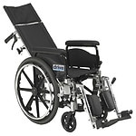 Drive Medical Viper Plus GT Reclining Wheelchair with Full Arms, Black, 20 Inch Seat