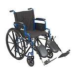 Drive Medical Wheelchair with Flip Back Desk Arms and Elevating Leg Rests, Blue, 18 Inch Seat- 1 ea