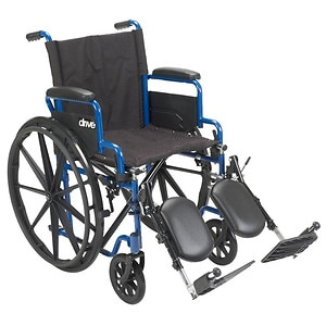 Drive Medical Wheelchair with Flip Back Desk Arms and Elevating Leg Rests, Blue, 16 Inch Seat