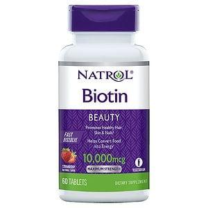 Natrol Biotin 10,000 mcg Fast Dissolve, Tablets, Strawberry- 60 ea