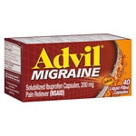 Advil Migraine Solubilized Ibuprofen Liquid Filled Capsules 200 mg, Pain Reliever