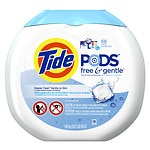 Tide PODS Free & Gentle HE Laundry Detergent Pacs, Unscented- 66 Each