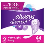 Always Discreet Incontinence Liners, Very Light, Long Length- 44 ea
