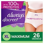 Always Discreet Incontinence Underwear, Maximum Extra-Large- 26 ea