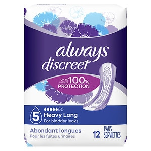 Always Discreet Incontinence Pads, Maximum Absorbency, Long Length