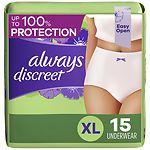 Always Discreet Incontinence Underwear, XL Maximum
