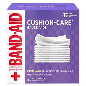 Band-Aid First Aid Gauze Pads, Medium (3 Inch x 3 Inch)- 25 ea