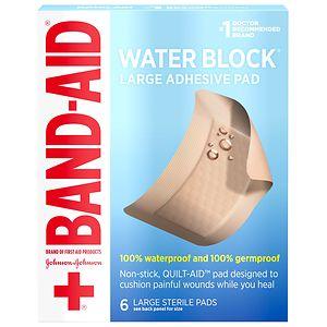 Band-Aid Waterproof Gauze Pad, Large- 6 ea