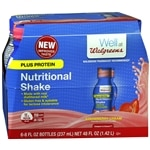 Walgreens Nutritional Plus Shake, Strawberry Cream, 8 oz Bottles, 6 pk- 8 oz