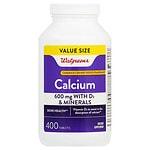 Walgreens Calcium 600mg +D3 Plus Minerals, Easy to Swallow Tablets- 400 ea