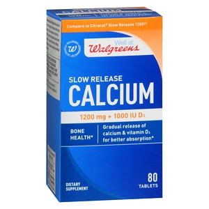 Walgreens Calcium Slow Release 1200mg + 1000 IU D3, Tablets