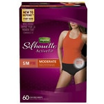 Depend Silhouette Active Fit Incontinence Briefs for Women, Moderate Absorbency, Black, Small/Medium- 60 ea