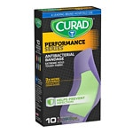 Curad Performance Series Antibacterial Bandages, Assorted Colors, XL, 2 x 4 inch (5.08 x 10.16 cm)- 10 ea