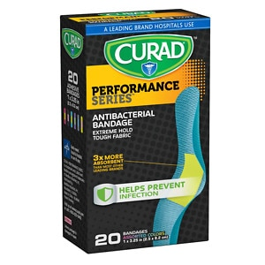 Curad Performance Series Antibacterial Bandages, Assorted Colors, 1 x 3.25 inch (2.5 x 8.2 cm)