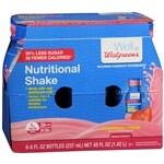 Walgreens Nutritional Shakes Reduced Sugar, Strawberry Cream, 8 oz Bottles, 6 pk- 8 oz