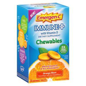 Emergen-C Immune+ with Vitamin D Chewables, Orange Blast