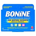Bonine Chewable Tablets for Motion Sickness, Raspberry- 16 ea