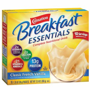 Carnation Breakfast Essentials Complete Nutritional Drink, Packets, Classic French Vanilla, 10 pk- 1.26 oz