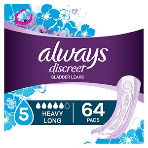 Always Discreet Incontinence Pads, Maximum, Long Length