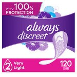 Always Discreet Incontinence Liners, Very Light, Regular Length- 120 ea
