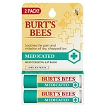 Burt's Bees Lip Balm, Medicated 2 Pk, Menthol and Eucalyptus- .3 oz