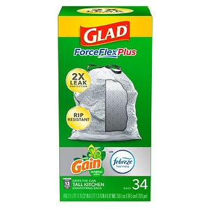 Glad Forceflex Tall Kitchen Trash Bags 13 Gallon, Gain Original