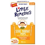 Little Remedies Sore Throat Pops, Real Honey- 10 ea