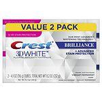 Crest 3D White Brilliance Toothpaste, Mint, 2 pk- 4.1 oz