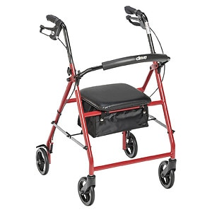 Drive Medical Rollator with 6in Wheels, Red